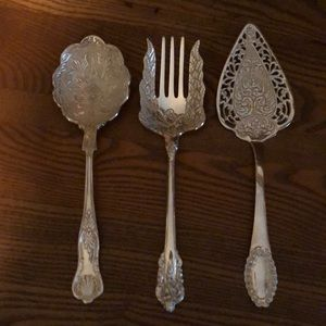 Set of 3 silver plated serving utensils